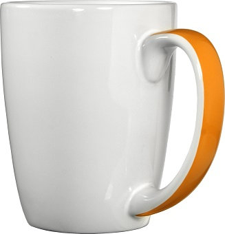 11 Oz., Ceramic Mug, White, Ribbon Handle, Coffee Mug, Drinkware, Restaurant