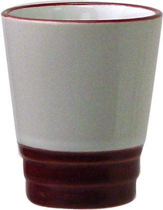 1.5 Oz., Ceramic, Whiskey Shooter, Shot, Flared Top, Round, Tapered Bottom, 2 Tone