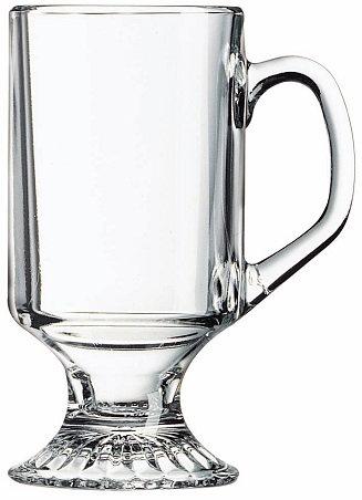 Irish, Glass, Coffee, Hot Drink, 10 Oz., Drinkware, Round, D Handle, Transparent, Pedestal, Weighted Base