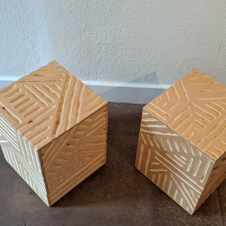 Carved Plywood Cubes