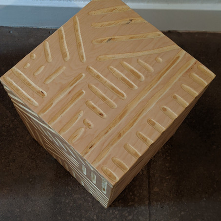 Carved Plywood Cubes Detail