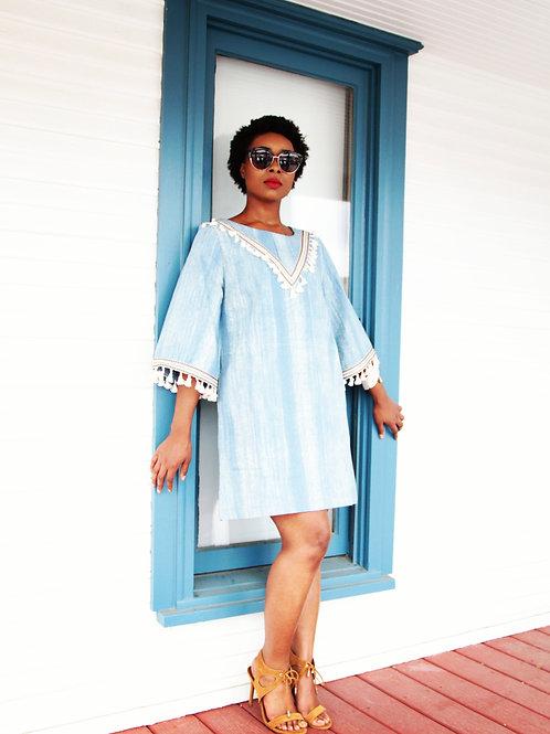 Denim Tassel Mini Dress