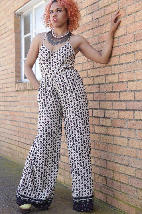 Floral pattern cutout jumpsuit