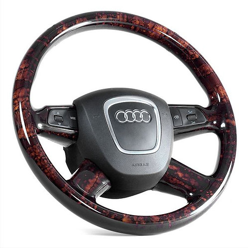 Audi 4 Spoke Walnut Steering Wheel - Airbag Type