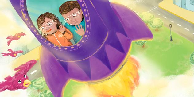 """Inner Illustration for the children book """"Viaje a la luna. Teté y Papá"""". Published by Little Teté. 2021"""