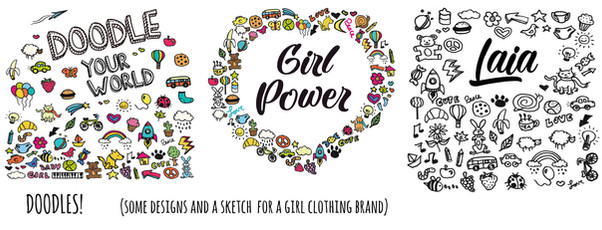 Doodle stamps for a girls clothes brand