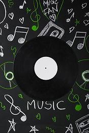 vinyl-record-blackboard-with-drawn-music