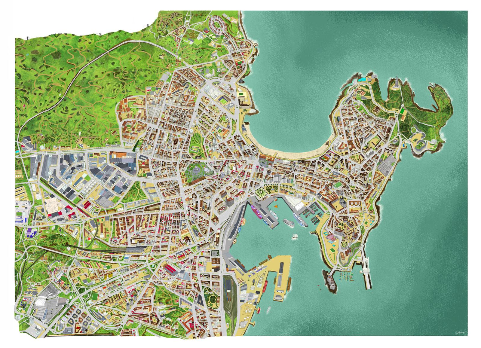 A Coruña Mapa Turistico.Touristic Map Of La Coruna Spain Mapa Turistico De La