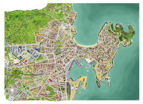 Touristic map of La Coruña, Spain