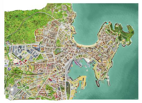Mapa turístico de La Coruña, España. Para Papel Continuo
