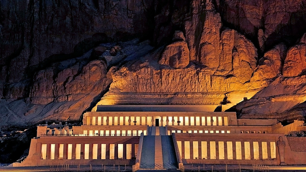 Hatshepsut Mortuary in Luxor, Egypt. Beautiful Ancient Egyptian temples, tombs and artifacts. Egypt is the best 2019 travel destination