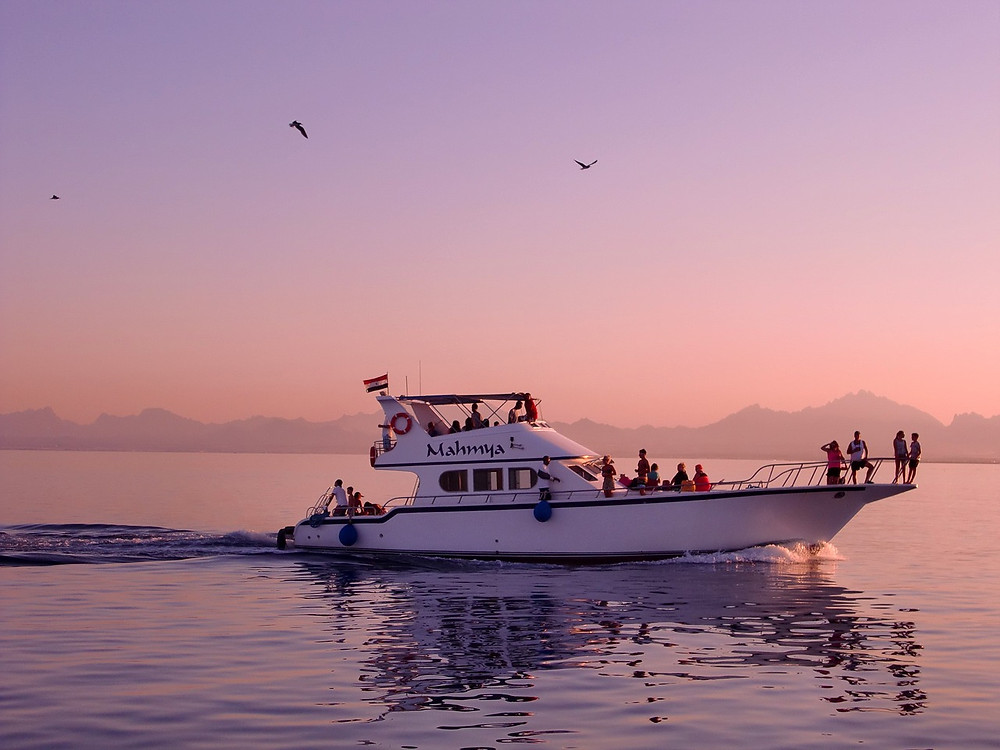 Red Sea Boat trip, Mahmya, Hurghada, Egypt. Renting a boat in Egypt. Egypt is the best travel destination of 2019