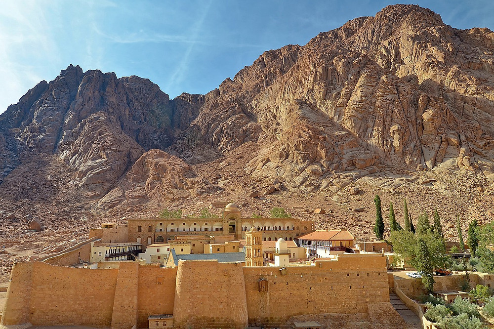 St. Catherine's Monastery at the foot of Mt. Sinai, where it's believed by the Abrahamic religions that Moses found the Burning Bush and received the 10 Commandments. Mount Sinai, in the Sinai peninsula in Egypt. Egypt is the best travel destination of 2019