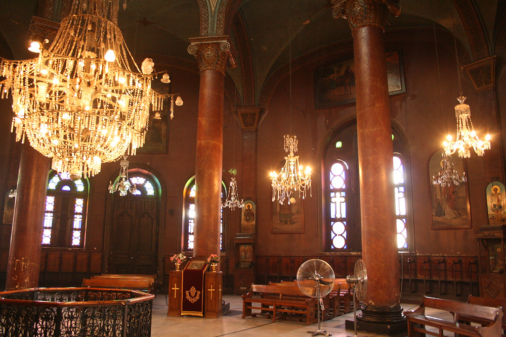 Coptic Cairo in Egypt. Hanging church, Mari Girgis church, coptic museum. Best sightseeing things to do and see in Cairo Egypt