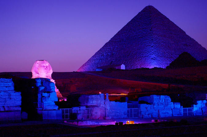 Sound and Light Show at the Pyramids of Giza and the Sphinx in Cairo, Egypt. Best sightseeing and things to do and see in Cairo Egypt