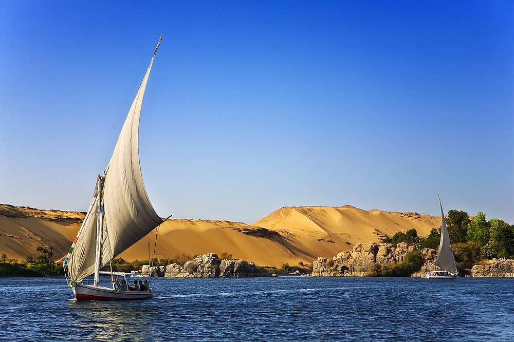 Nile felucca in Aswan, Egypt. Egypt is the best travel destination of 2019