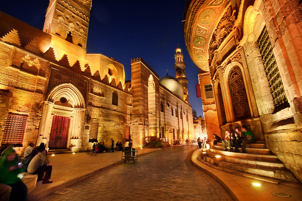Muizz Street or Muez street in Islamic Old Cairo, Egypt. Historic Cairo is one of UNESCO's World Heritage Sites in Egypt