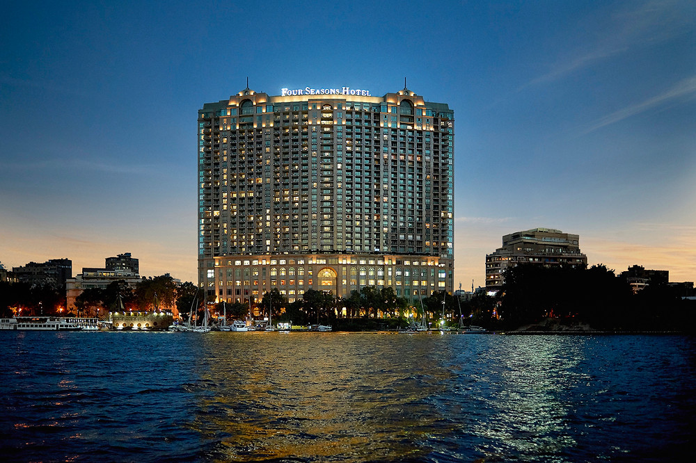 Four Seasons Nile Plaza in Garden City, Cairo Egypt. The neighborhood of Garden City