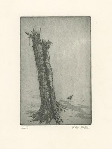 Birch stump with Sparrows Inken Stabell.