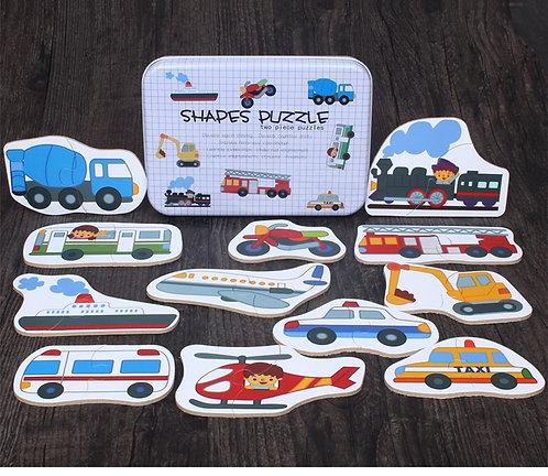 Transportation Puzzle Shapes