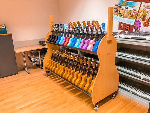 Custom 2 Level Ukulele Rack W/ Wheels