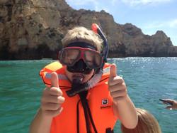 boy with snorkel