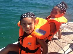 girls on swim platform