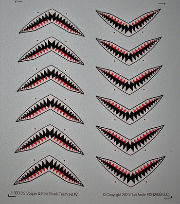 1-300 Vosper & Elco Shark Teeth decal set #2