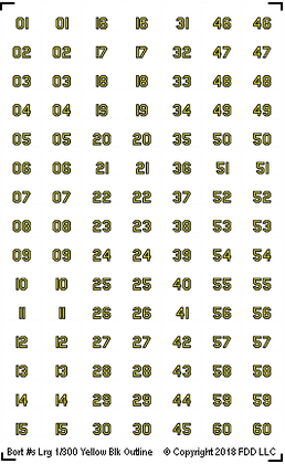 1-300 BORT Numbers (Large) Yellow with Black Outline