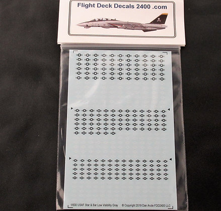 1-600 decals USAF Low Visibility Star & Bar - 50% White 50% Black