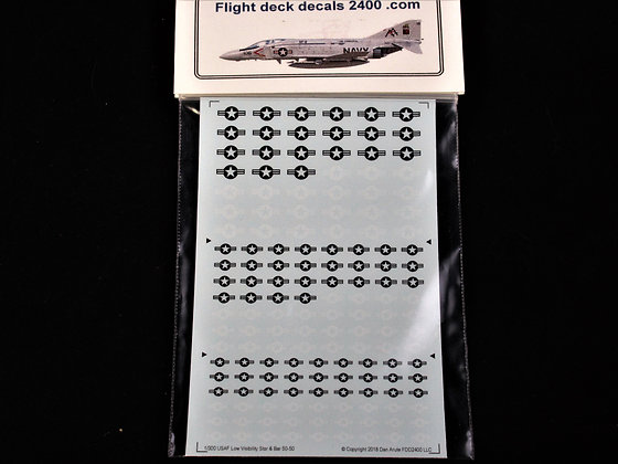 1-300 Decals USAF Low Visibility Star & Bar 50% White 50% Black