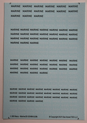 1-300 MARINE Navy 50-50 White & Black Markings