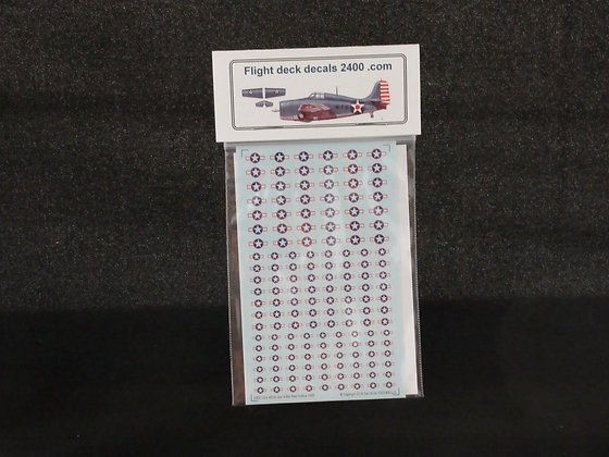 1-300 Decals USA White Star & Bar with Red Outline 1943