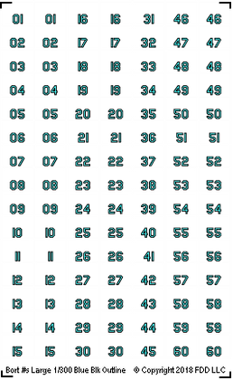 1/300 BORT Numbers (Small) Blue with Black Outline