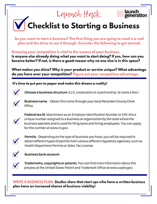 Checklist to Starting a Business LH Acti