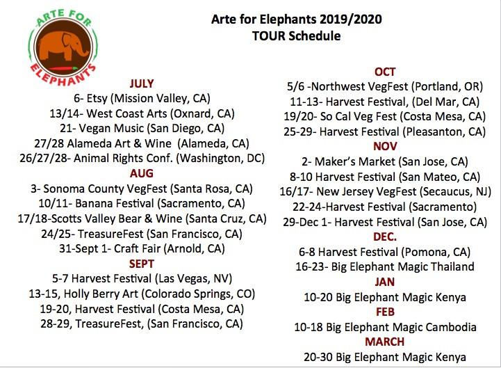 Summer/Fall Tour Schedule Arte for Elephants