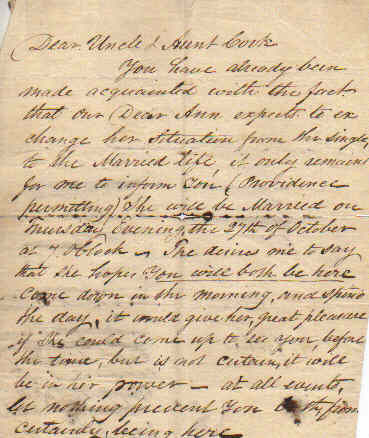 Wedding invitation letter from 1814
