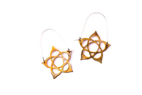 Hidden Pentacle Brass with Silver Dangly Earrings