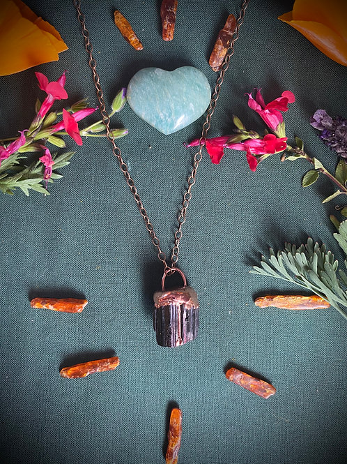Black tourmaline Copper and Gold Necklace