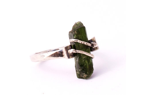 Forged, Sterling Silver, Chrome Diopside Ring 10