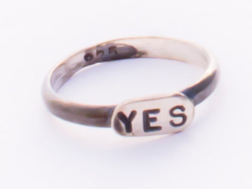 """Silver, oxidized """"YES"""" word stamped ring"""
