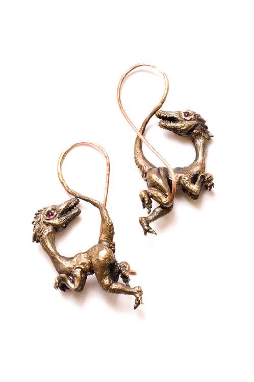 Bronze Velociraptor Ear Weights w/ Rhodolite Eyes