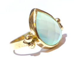 Blue Chalcedony and 14k recycled gol