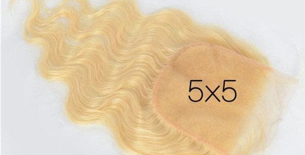 Luxury #613 Body Wave 5x5 closure transparent lace