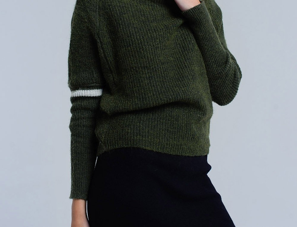 Ribbed Sweater in Green