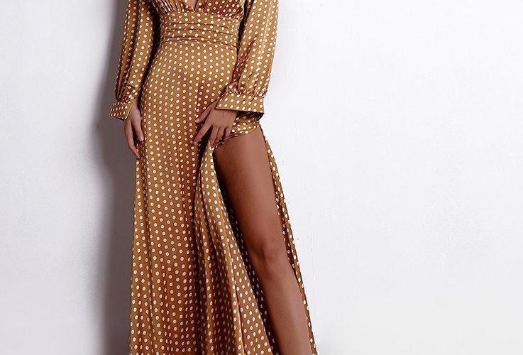Stylish Tan Polka Dot Dress