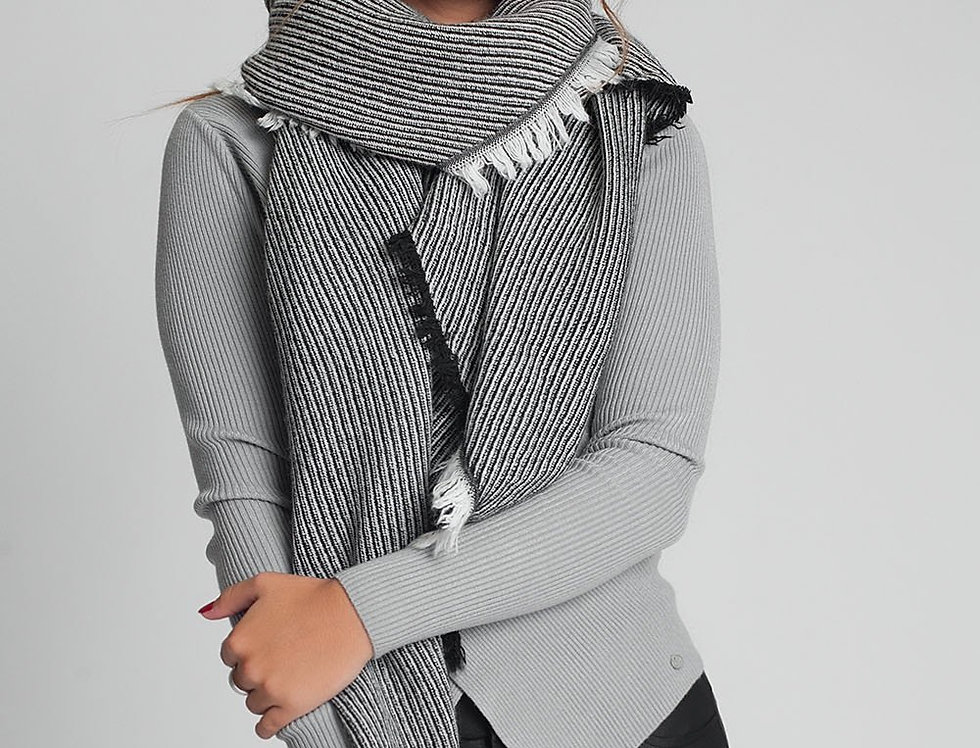 Oversized Black Frayed Scarf