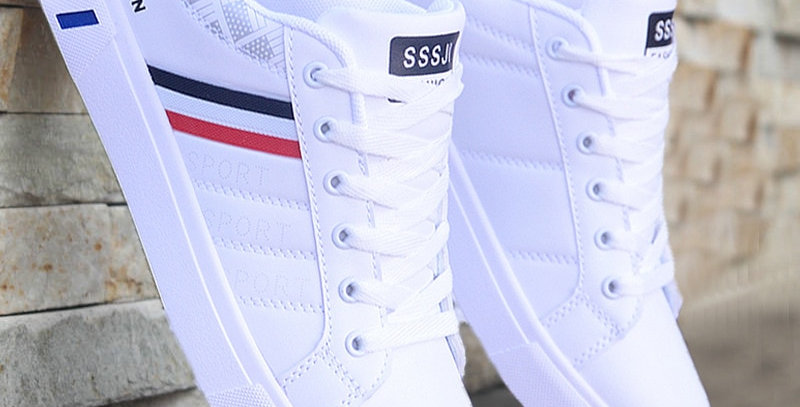 Mikarause White Casual Men Leather Breathable Sneakers
