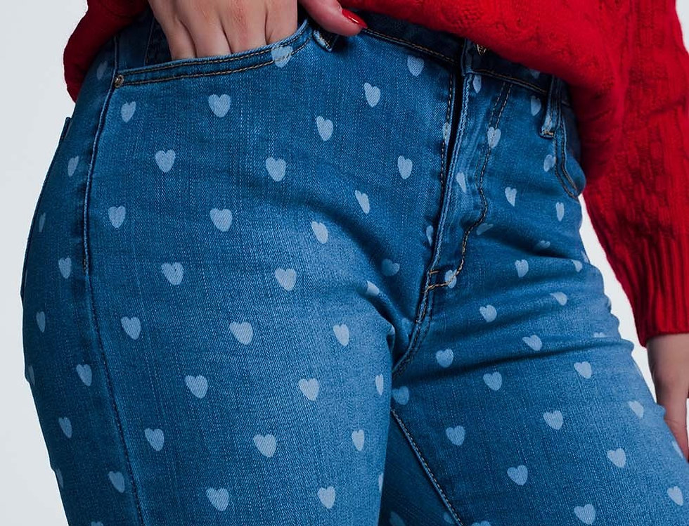 Skinny Jeans in Light Denim With Hearts Print