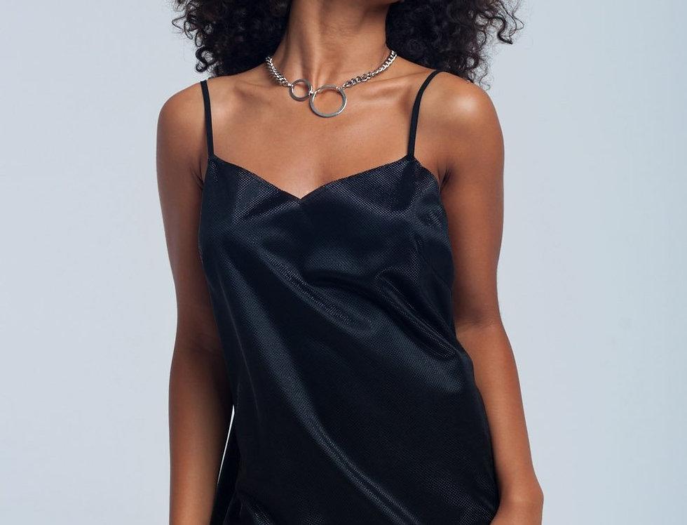 Black Shiny Fishnet Dress